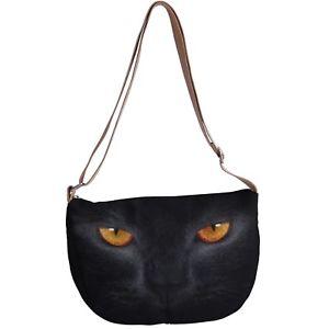 【送料無料】ネコメッセンジャーキャンバスクロスボディビーチバッグcat kitten eyes messenger canvas cross body beach bag p50 y0576