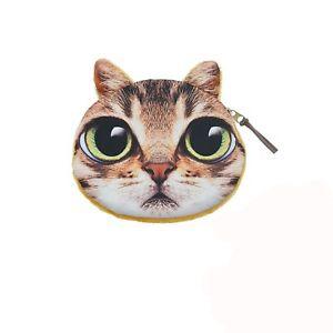 【送料無料】猫 ネコ キャット バッグ 小物 ウォレットジッパーpvc cat head textile wallet zip closure 13 x 11 cm