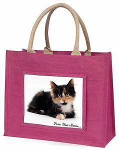 【送料無料】#;#ピンクショッピングバッグcute tortie kitten 039;love you mum039; large pink shopping bag christma, ac125lymblp