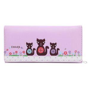 【送料無料】猫 ネコ キャット バッグ 小物 エンボスクラッチdamara womens cute cat embossed multilayer clutch wallet,purple