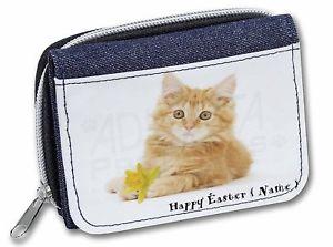 【送料無料】猫 ネコ キャット バッグ 小物 ショウガパーソナライズレディースデニムクリスマスginger cat personalised name girlsladies denim purse wallet christmas gift idea