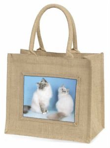 【送料無料】ジュートショッピングバッグクリスマスtwo gorgeous birman cats large natural jute shopping bag christmas gif, ac48bln