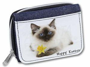 【送料無料】猫 ネコ キャット バッグ 小物 ラグドールハッピーイースター#レディースデニムクリスマスragdoll cat 039;happy easter039; girlsladies denim purse wallet christmas gift idea