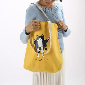 【送料無料】ホワイトイエローキャンバスショッピングトートバッグショルダーバッグプリントクッキーwhite amp; yellow canvas shopping tote shoulder bag print cat cookies zt02e b