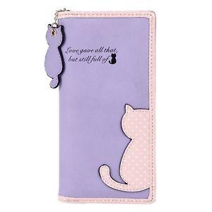 【送料無料】猫 ネコ キャット バッグ 小物 ドットプリントファスナーdamara cute dot cat printing long purse soft leather bifold zippered