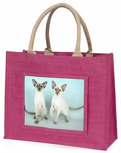 【送料無料】シャムピンクショッピングバッグクリスマスプレゼントアイデアtwo siamese cats large pink shopping bag christmas present idea, ac22blp