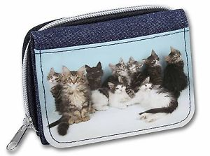 【送料無料】猫 ネコ キャット バッグ 小物 ノルウェーレディースデニムクリスマスcute norwegian forest kittens girlsladies denim purse wallet christmas, ac46jw