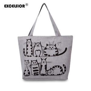 【送料無料】エクセルシオールプリントビーチジッパーバッグハンドバッグexcelsior cartoon cats printed beach zipper bag handbag