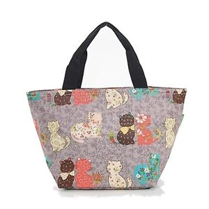 【送料無料】プリントバッグエコシッククールグレーcat print cool bag eco chic in 4 colourways grey
