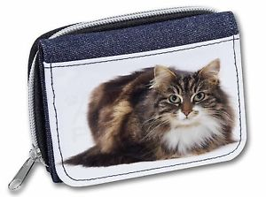 Pretty Ginger Cat Girls//Ladies Denim Purse Wallet Christmas Gift Idea AC-116JW