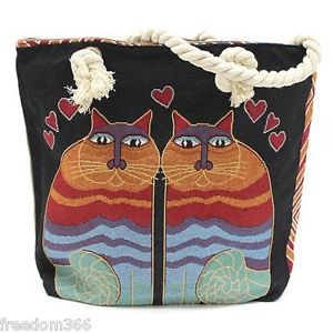 【送料無料】ロープハンドルバッグrope handle bag two cats