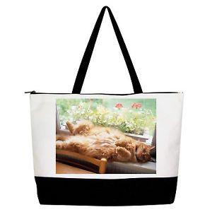 【送料無料】ハンドバッグトートショッパーショルダーバッグsleep cat handbag purse tote shopper shoulder bag