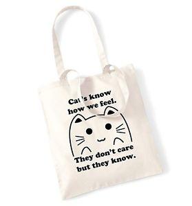 【送料無料】##ドントートバッグcat039;s know how we feel they don039;t care but they know tote bag