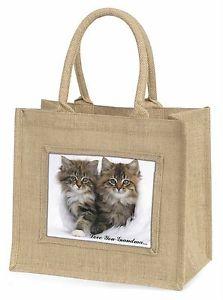 【送料無料】##ジュートショッピングバッグkittens 039;love you grandma039; large natural jute shopping bag birthda, ac189lygbln