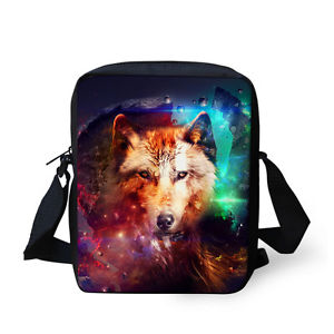 【送料無料】カラフルオオカミレディースバッグトートバッグショルダーバッグメッセンジャーcolorful wolf animal ladies small crossbody bag tote shoulder handbag messenger