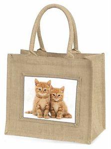 【送料無料】ショウガジュートショッピングバッグプレゼントtwo ginger kittens large natural jute shopping bag birthday gift, ac61bln