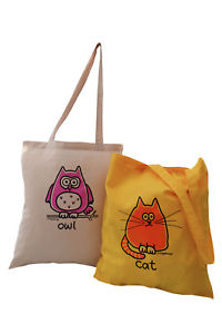 【送料無料】トートバッグ 2 pks of tote bags owl amp; cat