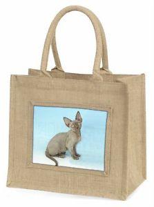 【送料無料】グレーデボンレックスネコツナソキリストac175blnblue grey devon rex kitten cat large natural jute shopping bag christ, ac175bln