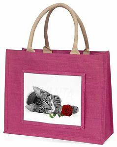 【送料無料】バラピンクショッピングバッグクリスマスプレゼントアイデアcat with red rose large pink shopping bag christmas present idea, ac204r2blp