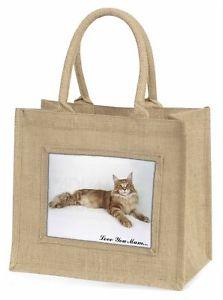 【送料無料】メインクーン#;#ジュートショッピングバッグクリスmaine coon cat 039;love you mum039; large natural jute shopping bag chris, ac17lymbln