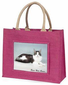 【送料無料】メインクーンピンクショッピングバッグクリスマスmaine coon cat love you mum large pink shopping bag christmas pre, ac36lymblp