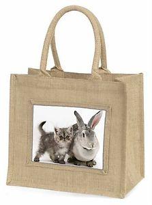 【送料無料】シルバーグレーウサギジュートショッピングバッグクリスマスsilver grey cat and rabbit large natural jute shopping bag christmas g, ac62bln
