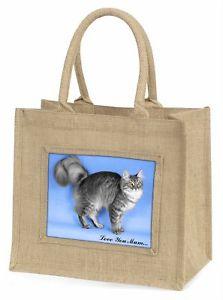 【送料無料】シルバージュートショッピングsilver maine coon cat love you mum large natural jute shopping ba, ac15lymbln