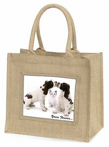 【送料無料】ツナソchristmadsc57blndogs and cat yours forever large natural jute shopping bag christm, adsc57bln