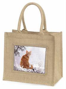 【送料無料】ジュートショッピングバッグクリスマスginger winter snow cat large natural jute shopping bag christmas gift , ac63bln