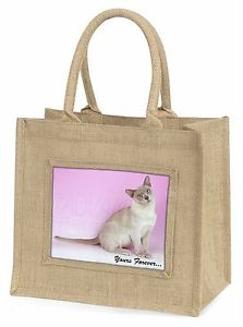 【送料無料】ビルマジュートショッピングバッグburmese cat yours forever large natural jute shopping bag birthday , ac32ybln
