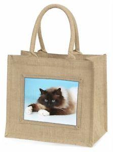【送料無料】ジュートショッピングバッグクリスマスbeautiful birman cat large natural jute shopping bag christmas gift id, ac45bln