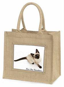 【送料無料】シャムジュートショッピングバッグsiamese cat love you grandma large natural jute shopping bag birt, ac66lygbln