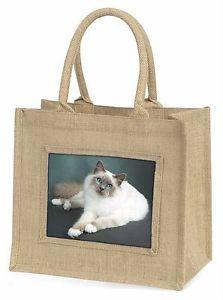 【送料無料】birmanツナソac85blnadorable birman cat large natural jute shopping bag birthday gift, ac85bln