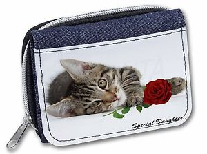 【送料無料】猫 ネコ キャット バッグ 小物 ローズ#レディースデニムkitten with rose 039;special daughter039; girlsladies denim purse wallet c, sd204rjw