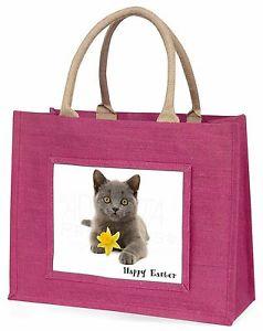 【送料無料】ハッピーイースターピンクショッピングバッグクリスマスbritish blue cat happy easter large pink shopping bag christmas , ac186da1blp