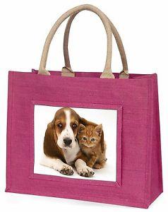 【送料無料】バセットハウンドピンクショッピングバッグクリスマスプレゼントbasset hound dog and cat large pink shopping bag christmas present id, adbh1blp