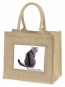 【送料無料】ツナソクリスマスgiac68ublntabby cat love sentiment large natural jute shopping bag christmas gi, ac68ubln