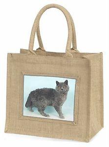 【送料無料】シルバーグレーセルカークレックスジュートショッピングバッグsilver grey blue selkirk rex cat large natural jute shopping bag ch, ac110bln
