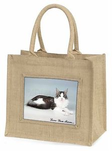 【送料無料】メインクーンジュートショッピングバッグクリスmaine coon cat love you mum large natural jute shopping bag chris, ac36lymbln