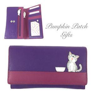【送料無料】猫 ネコ キャット バッグ 小物 フラップmedium flap over purple purse wallet mala leather ziggy cat kitten 3411_99