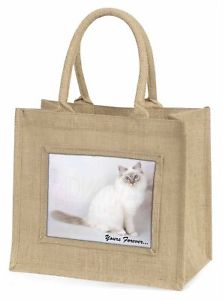 【送料無料】birmanツナソクリスマスac47yblnbirman cat yours forever large natural jute shopping bag christmas , ac47ybln