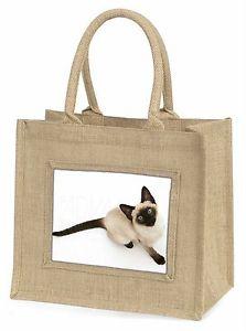 【送料無料】シャムジュートショッピングバッグクリスマスsiamese cat large natural jute shopping bag christmas gift idea, ac66bln