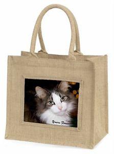 【送料無料】ツナソクリスマスgac10yblntabby cat yours forever large natural jute shopping bag christmas g, ac10ybln