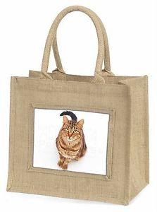 【送料無料】ジュートショッピングバッグプレゼントbrown tabby cat large natural jute shopping bag birthday gift, ac160bln