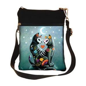 【送料無料】ライバルバッグハンドバッグスケルトンnemesis now starry night love cats skeleton day of the dead bag handbag