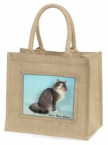 【送料無料】ノルウェー#;#ジュートショッピングバッグnorwegian forest cat 039;love you mum039; large natural jute shopping bag, ac54lymbln
