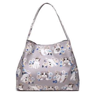 【送料無料】マットハンドバックトートバッグladies lovely matte oilcloth cat print handbag shoulder tote bag grey