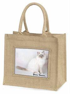 【送料無料】ジュートショッピングバッグクリスマスbirman cat yours forever large natural jute shopping bag christmas , ac47ybln