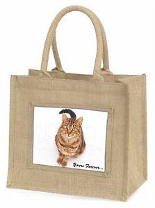 【送料無料】ジュートショッピングバッグクリスマスtabby cat yours forever large natural jute shopping bag christmas g, ac167bln