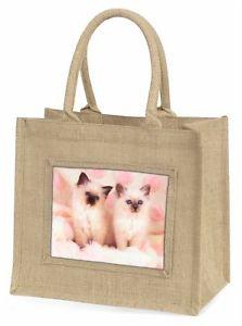 【送料無料】ジュートショッピングバッグクリスマスbirman cat kittens large natural jute shopping bag christmas gift idea, ac21bln
